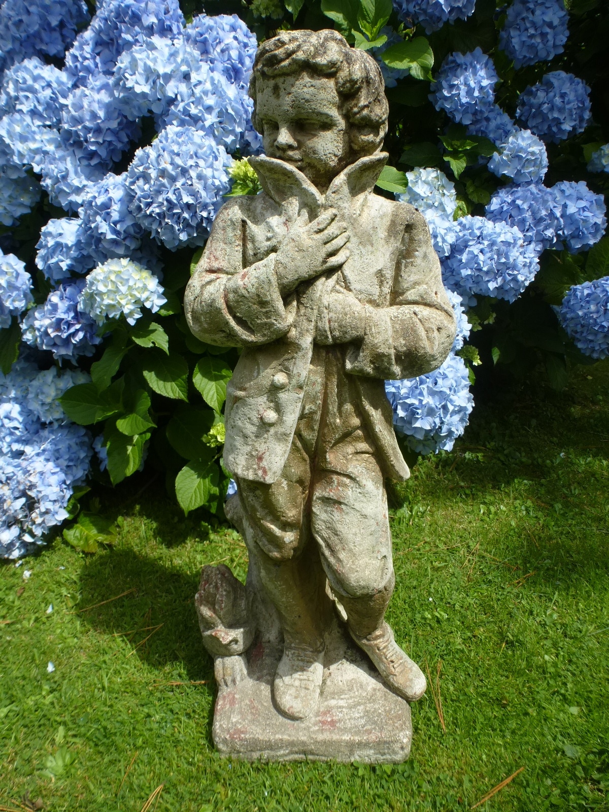 Redruth garden statue ornament boy young man cast stone vintage cornwall used pots