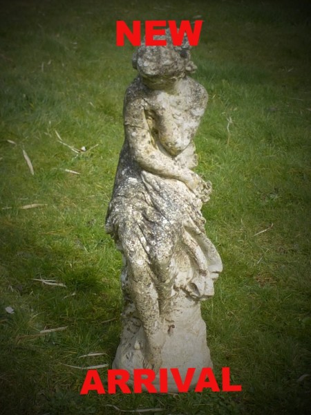 garden statue garden lay statue woman garden pot urn planter pedestal used secondhand pre-owned Redruth Cornwall lichen lawn