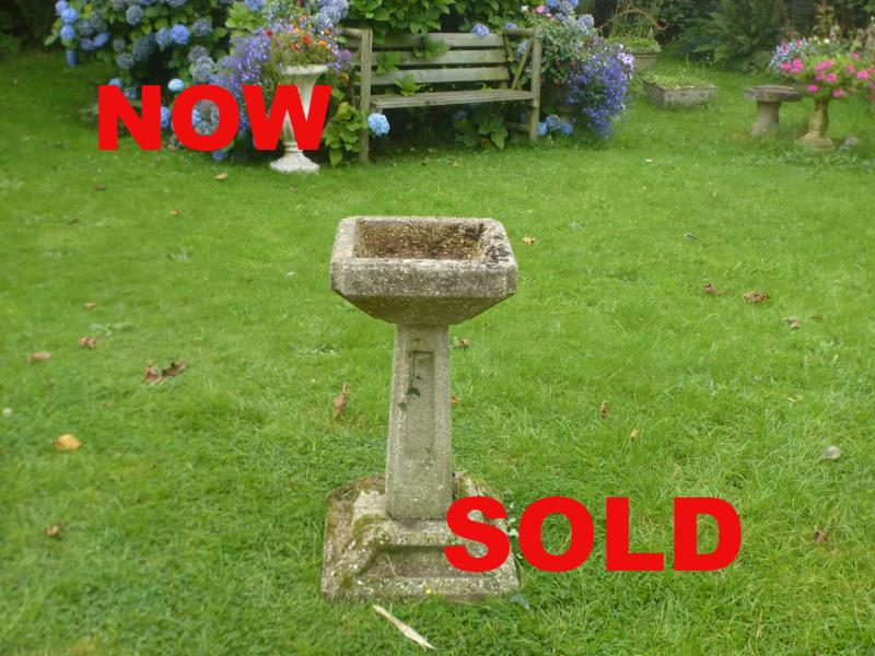 Redruth Cornwall garden pot garden bird bath sundial bench planter used secondhand pre-owned Purple Pink