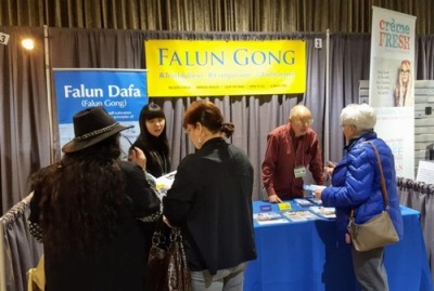 Falun Gong booth at 2018 Health and Wellness Expo in Winnipeg Canada