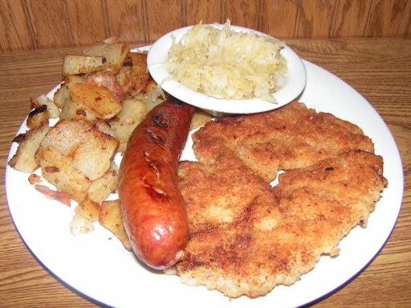 Schnitzel and Sausage Plate