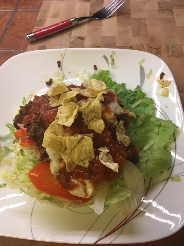 Taco salad lettuce bowl