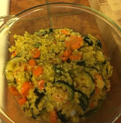 Fast dinner - Cauliflower rice with Fire Roasted veggies