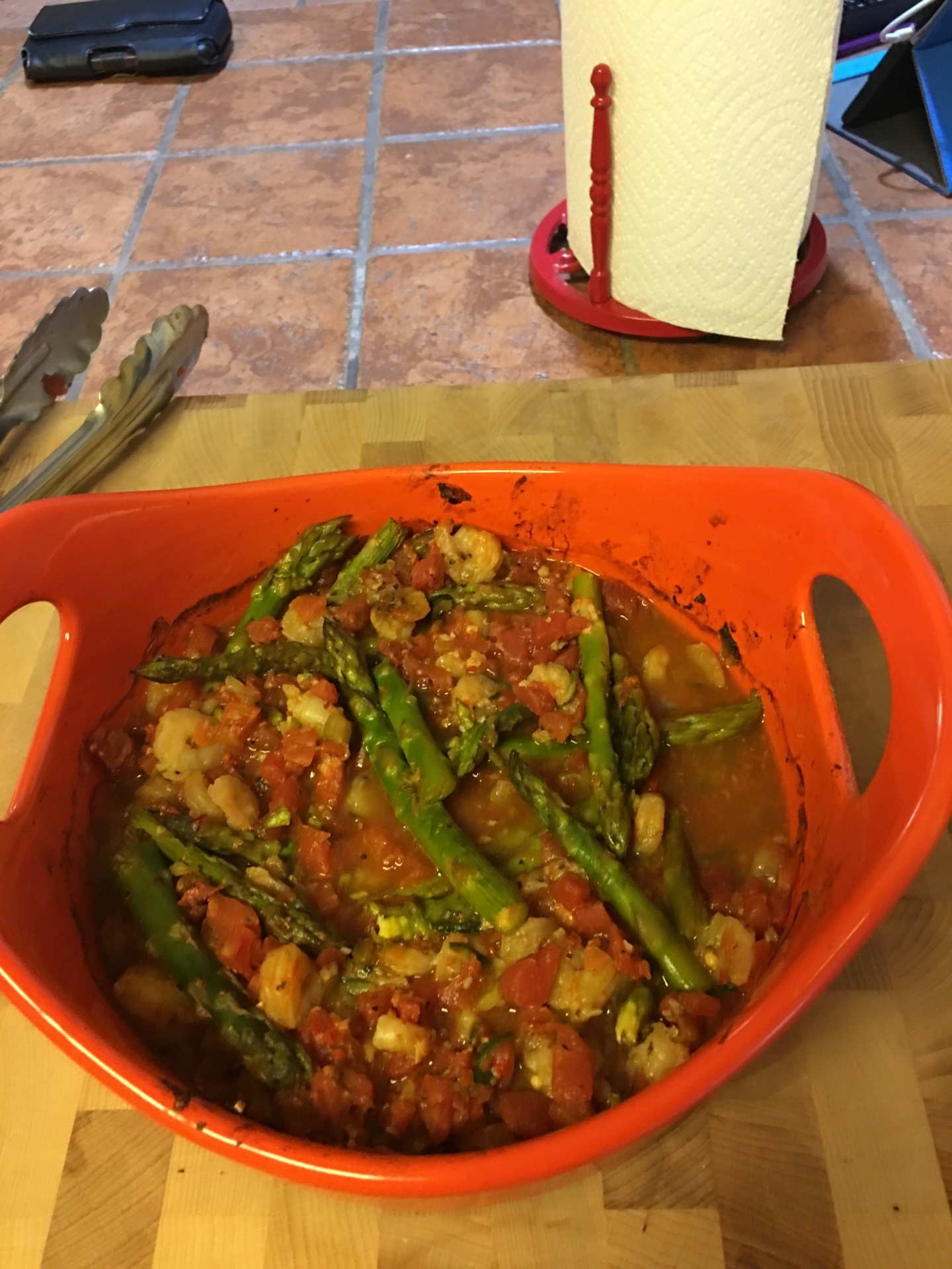 Shrimp & Asparagus with Rotel tomatoes