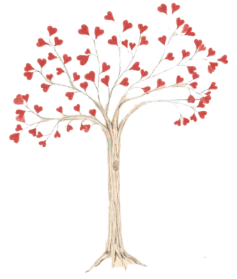 Heart Tree- printed with a white background