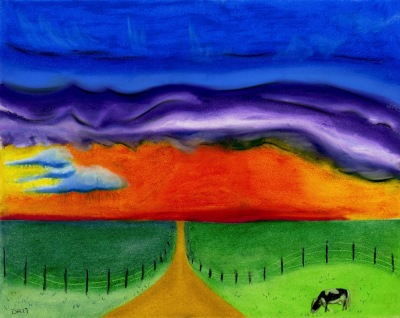 Lonely Cow - Oil Pastel- prints $25 & $35