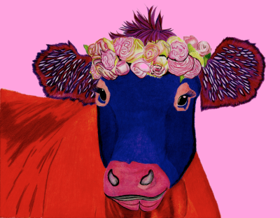 Pink Cow - Colored Pencil Prints $25 & $35