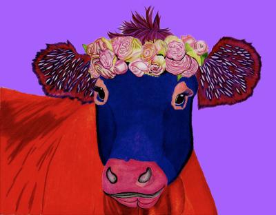 Purple Cow - Colored Pencil  Prints $25 & $35
