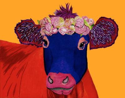Orange Cow - Colored Pencil  Prints $25 & $35