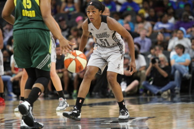 San Antonio Stars' Sydney Colson (51) watches as Seattle Storm's Noelle Quinn (45) approaches. (Anthony Mazur/AM News Net)