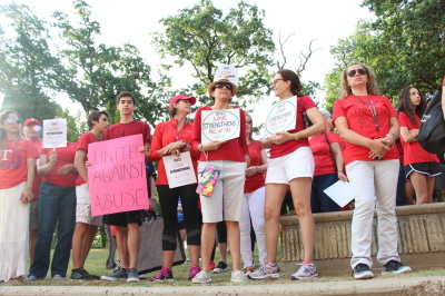 Protesters gather outside of Coppell High School after an alleged sexual assault of a student with Aspergers' Syndrome on May 31, 2017. (Anthony Mazur/AM News Net)