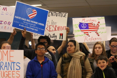 Protesters gather at D/FW Airport on January 29, 2017 to protest an executive order signed by President Trump. The order restricts immigration from seven Muslim-majority countries and resulted in the detention of travelers. (Anthony Mazur/AM News Net)