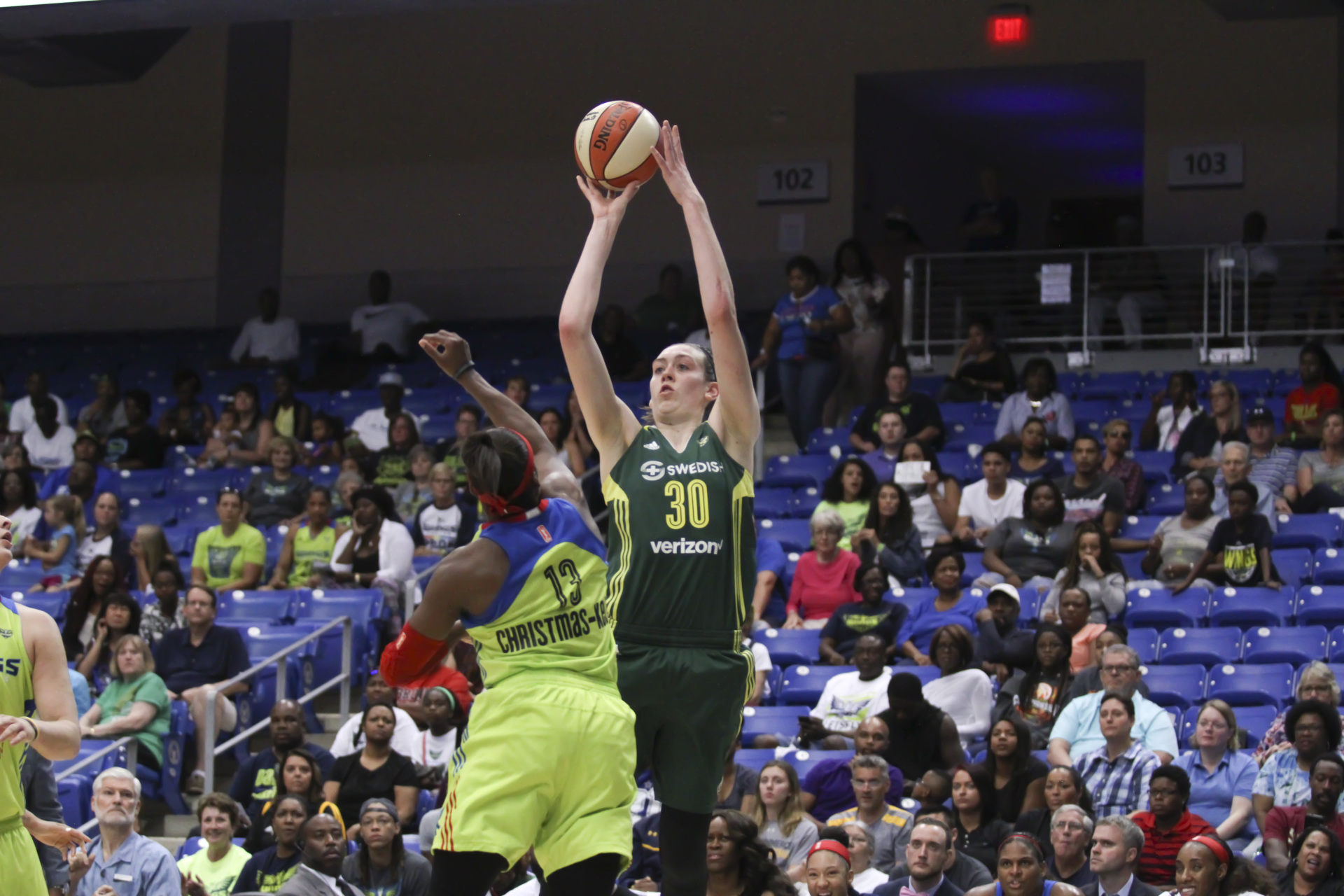 August 4, 2017 - Arlington, TX - Seattle Storm's Breanna Stewart (30) shoots the ball in the game between the Dallas Wings and Seattle Storm. (Anthony Mazur/AM News Net)