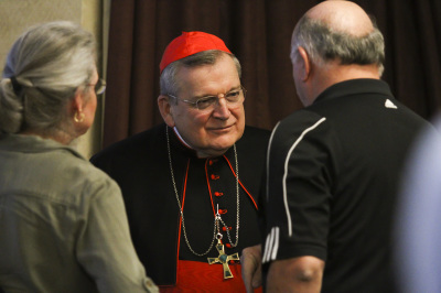 IRVING, TX - OCTOBER 6: Cardinal Raymond Burke greets people before Friday mass at St. Monica Catholic Church on October 6, 2017. (Anthony Mazur/AM News Net)