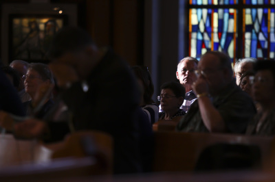 IRVING, TX - OCTOBER 6: Laity sit before Friday mass at St. Monica Catholic Church on October 6, 2017. (Anthony Mazur/AM News Net)