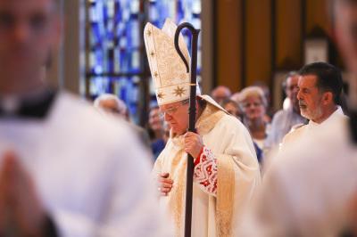 IRVING, TX - OCTOBER 6: Cardinal Raymond Burke walks to the altar during Friday mass at St. Monica Catholic Church on October 6, 2017. (Anthony Mazur/AM News Net)