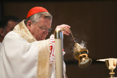 IRVING, TX - OCTOBER 6: Cardinal Raymond Burke with incense during Friday mass at St. Monica Catholic Church on October 6, 2017. (Anthony Mazur/AM News Net)
