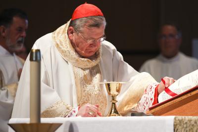 IRVING, TX - OCTOBER 6: Cardinal Raymond Burke celebrates Friday mass at St. Monica Catholic Church on October 6, 2017. (Anthony Mazur/AM News Net)