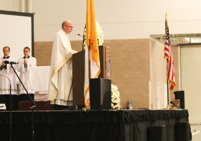 IRVING, TX - OCTOBER 7: A priest speaks during mass at the Fatima Summit at the Irving Convention Center on October 7, 2017. (Anthony Mazur/AM News Net)