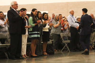 IRVING, TX - OCTOBER 7: People clap at the end of mass at the Fatima Summit at the Irving Convention Center on October 7, 2017. (Anthony Mazur/AM News Net)