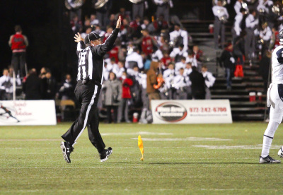 FLOWER MOUND, TX - OCTOBER 27: A referee throws a flag during the 2017 Mound Showdown game between Marcus High School and Flower Mound High School. (Anthony Mazur/AM News Net)