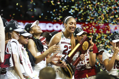 DALLAS, TX - APRIL 2: South Carolina junior A'ja Wilson and her team holds up the NCAA national championship trophy after the 2017 Women's Final Four title game. South Carolina defeated Mississippi State 67-55 on April 2, 2017. (Anthony Mazur/AM News Net)