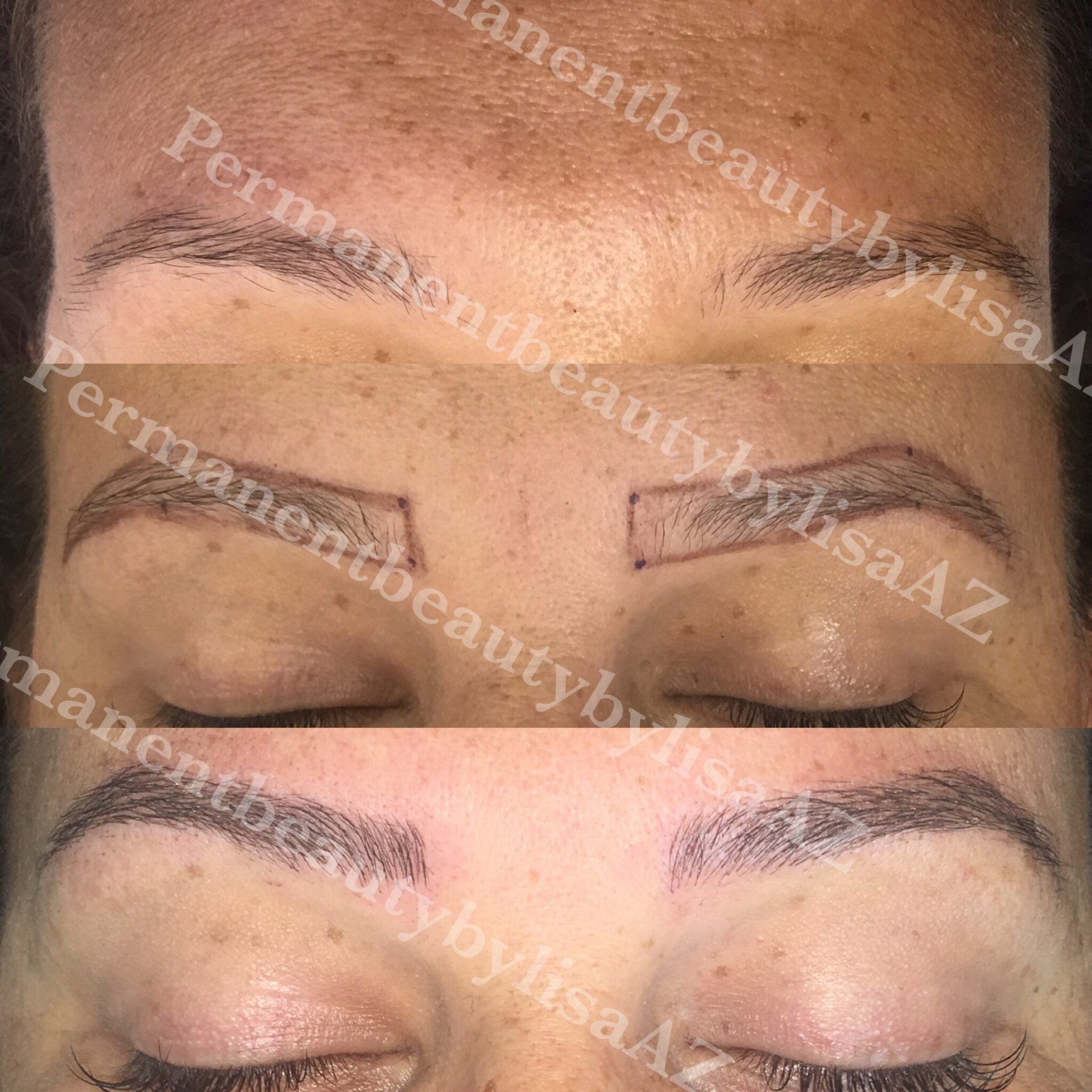 Brow Microblading - Before- During - After
