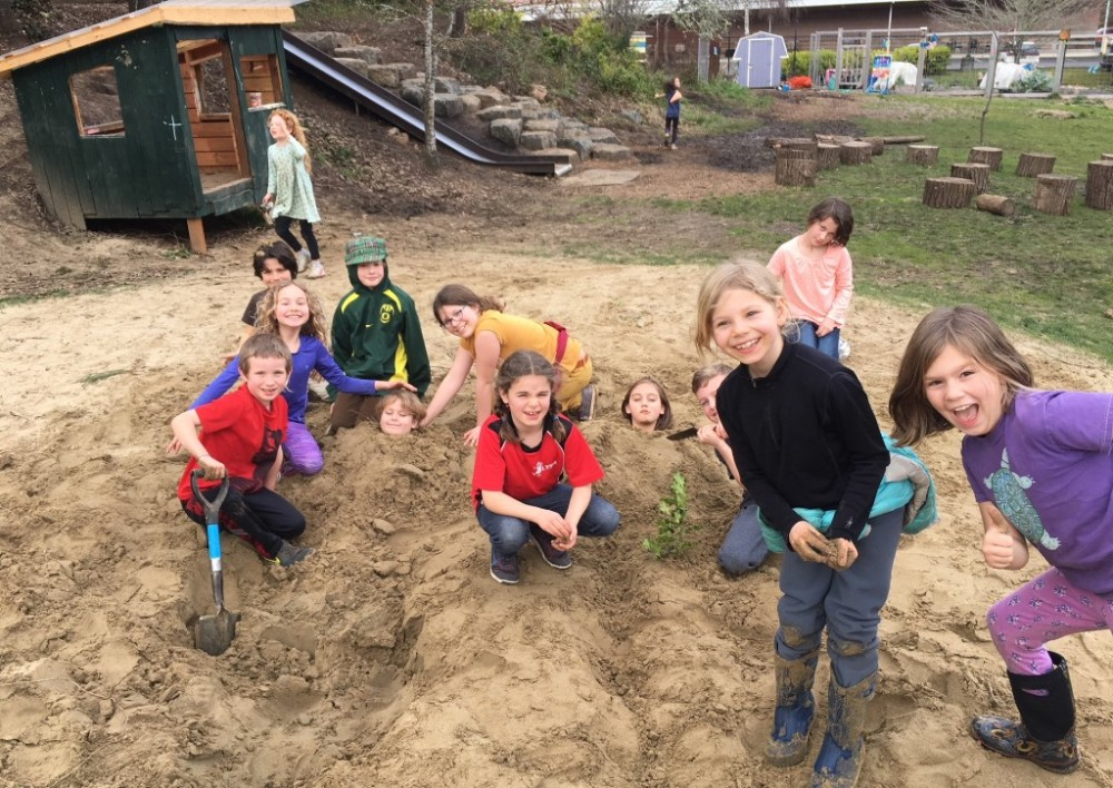 Students at play in the sandbox [click image to see entire picture]