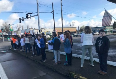 Middle school students marching against gun violence on Wed. [click image to see entire picture]