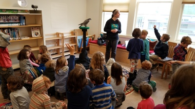 1st and 2nd graders with a visitor from Cascade Raptor Center [click image to see entire picture]