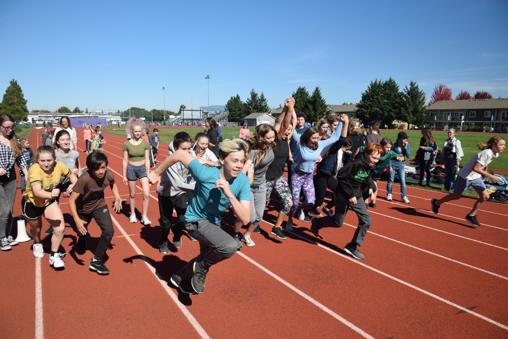 Eighth grade students at Thursday's Walk-a-thon [click image to see entire picture]