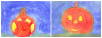 3rd grade student pumpkin paintings [click image to see entire picture]