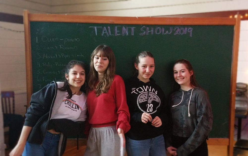Eighth grade students set up for the Talent Show! [click image to see entire picture]