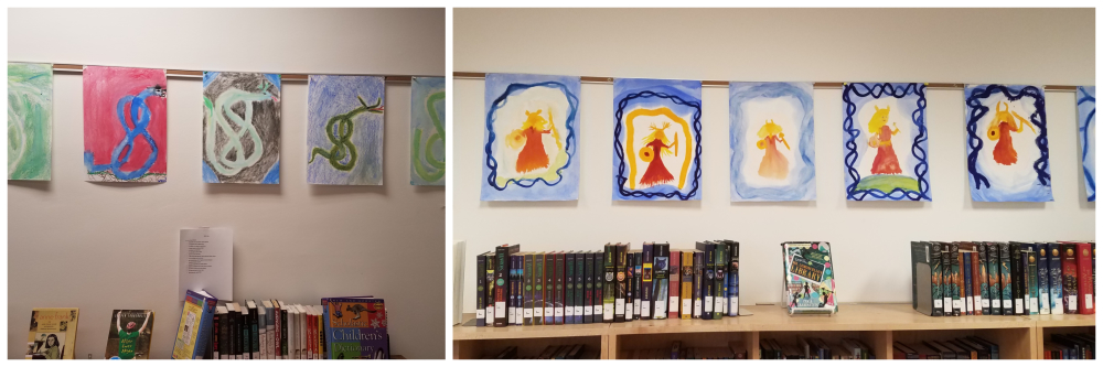 Student art on display in the Library [click image to see entire picture]
