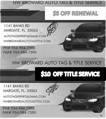 Auto Tag Title, Registration, Margate Florida, Title