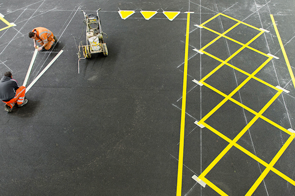 Solvent paint warehouse markings