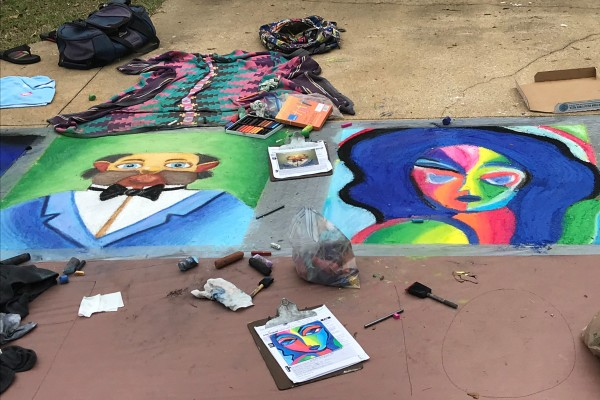 Chalk Walk in progress