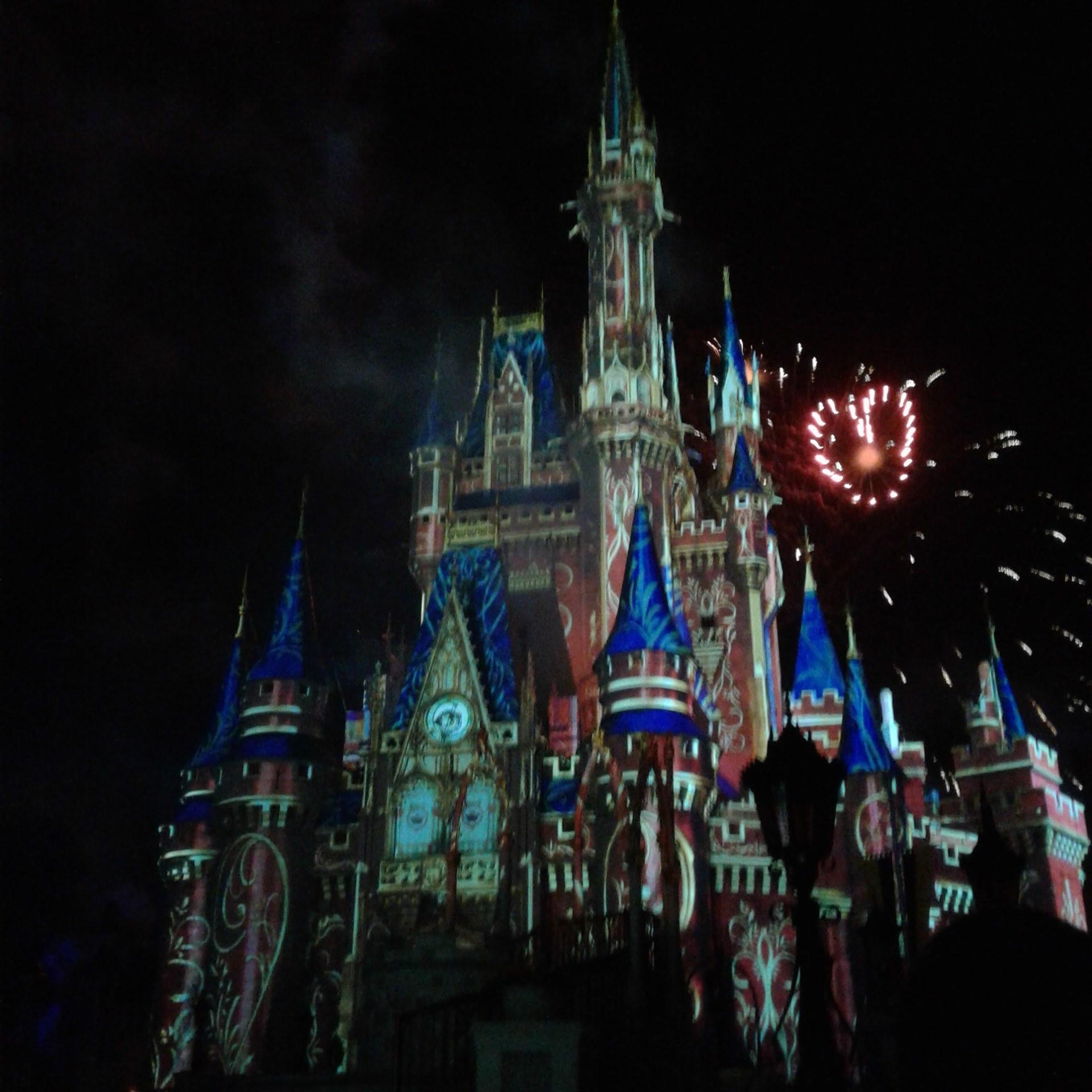 Cinderellas castle fireworks Disney