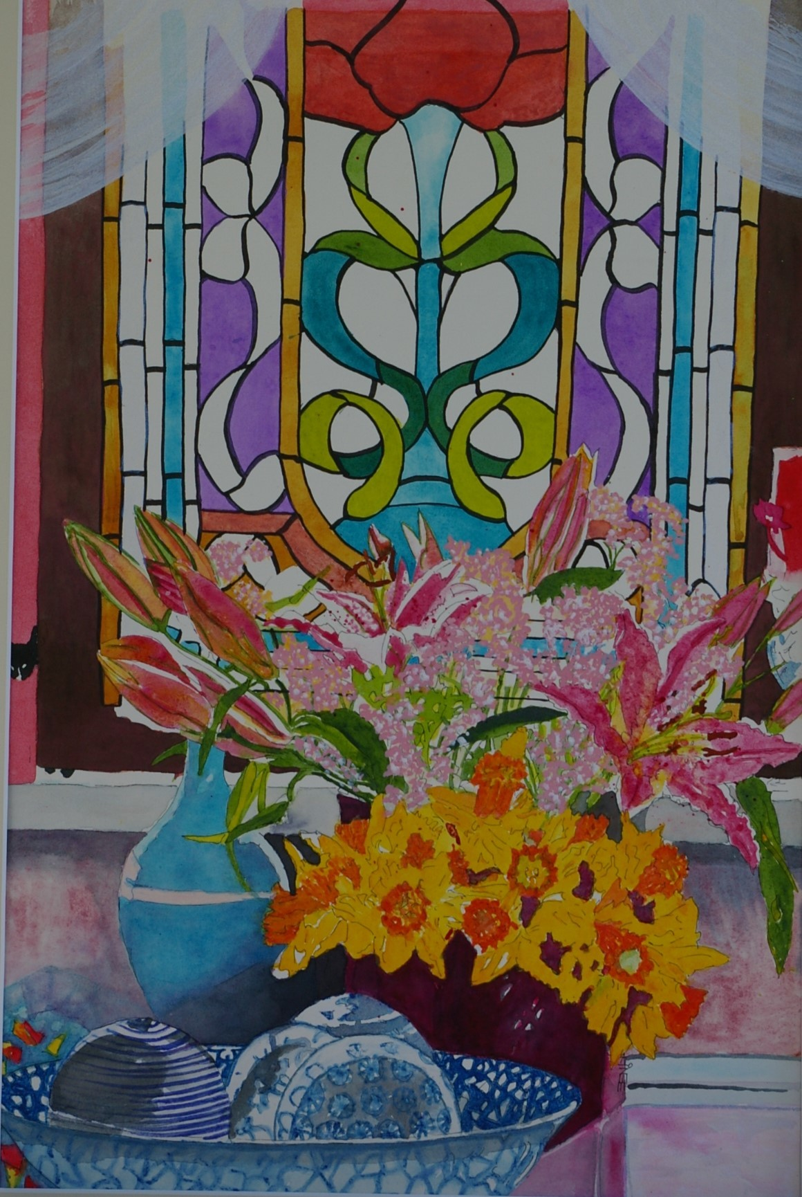 Stained Glass Still Life.  SOLD.