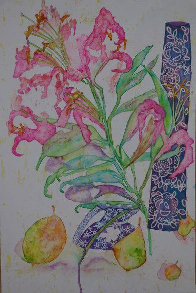 Pink lily and pears. £200.00