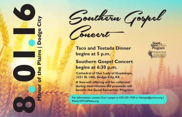 Manor of the Plains, Dodge City | Southern Gospel Concert Poster