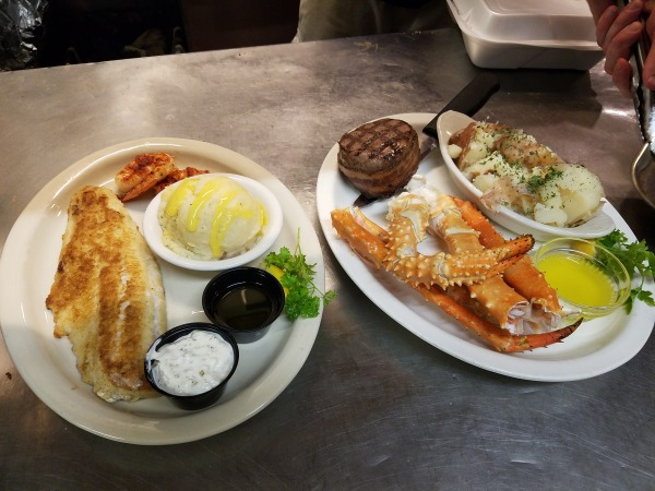 Walleye and Shrimp/Steak and Crab