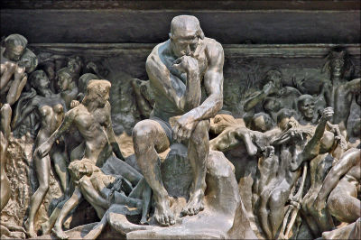 Le Penseur in situ on 'Gates of Hell'