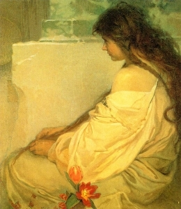 Girl with Loose Hair and Tulips