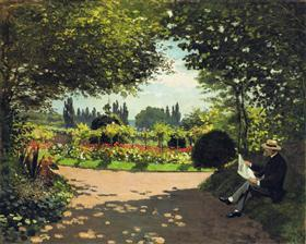 Adolphe-Monet reading in the garden