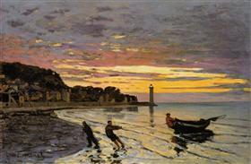 Hauling a boat ashore honfleur