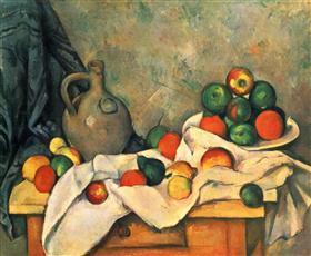 Curtain, Jug and Fruit