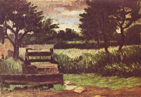 Landscape with fountain