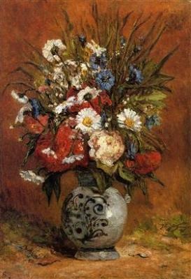 Daisies and peonies in blue vase