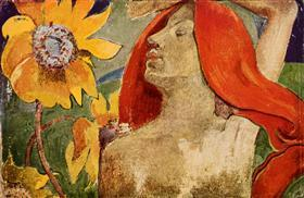 Redheaded woman and sunflowers